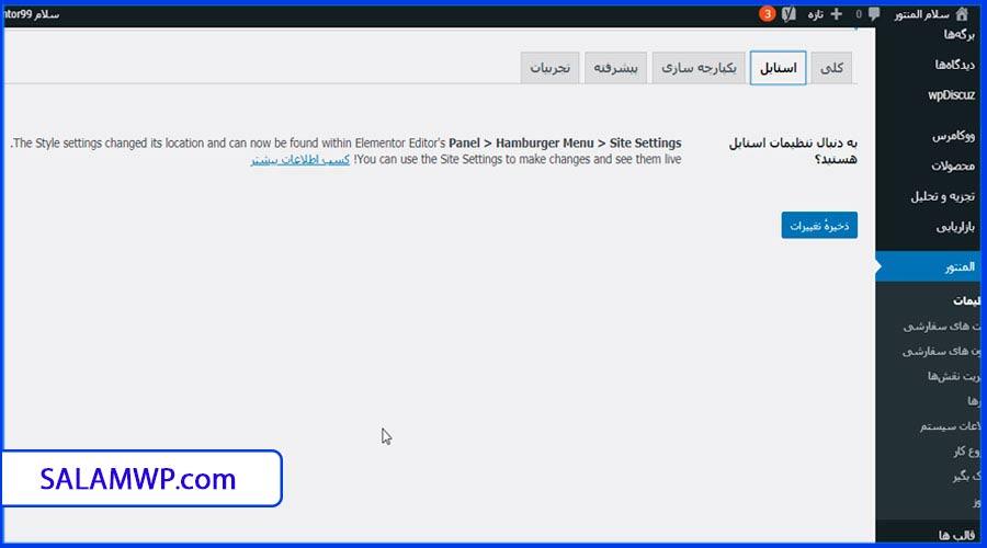 استایل بخش تنظیمات المنتور - سلام وردپرس